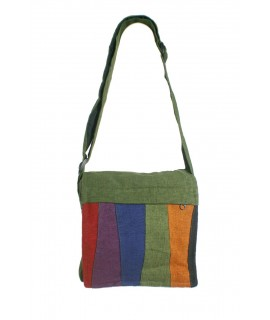 Petit sac multi-usages hippie ethnique en coton vert poignées tissées