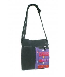 Bolso multiuso étnico bordado hippie con asas de tejido  algodón color negro. Medidas: 19x20x5 cm.