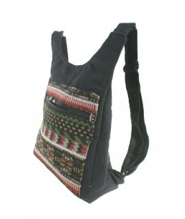Mochila chaleco hippie étnico estampado tela algodón color negro. Medidas: 30x28x10 cm. Aprox.