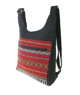 Mochila forma chaleco hippie étnico con compartimientos color base negro
