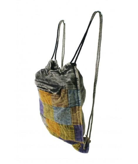 Mochila bolsa cuerdas hippie étnico bolsillo interior con cremallera