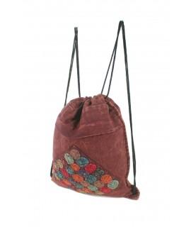 Mochila saco de bolsa de cuerdas hippie étnico tela algodón color granate. Medidas: 41x34 cm. Aprox.