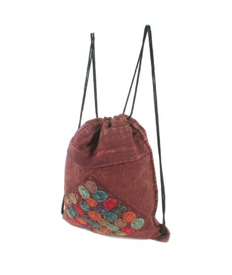 Mochila bolsa de cuerdas hippie bordado étnico color granate