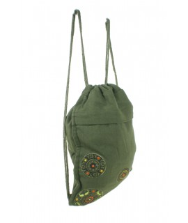 Mochila bolsa de cuerdas hippie bordado étnico color verde