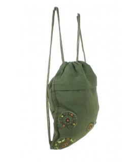 Motxilla borsa de cordes hippie brodat ètnic color verd