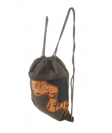 Mochila bolsa de cuerdas hippie bordado étnico color marrón