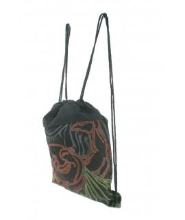 Mochila bolsa de cuerdas hippie bordado étnico color negro