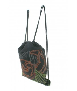 Mochila saco de bolsa de cuerdas hippie étnico tela algodón color negro. Medidas: 40x33 cm. Aprox.