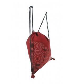 Sac à cordon hippie cordon de serrage broderie ethnique couleur marron