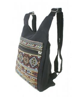 Sac à dos gilet hippie ethnique avec compartiments couleur de base noir
