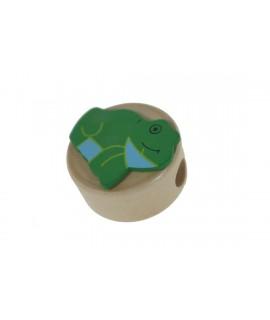 Maquineta de fusta amb figura granota