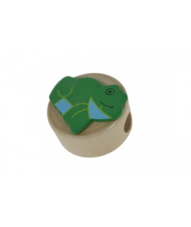 Sacapuntas de madera con figura ranita