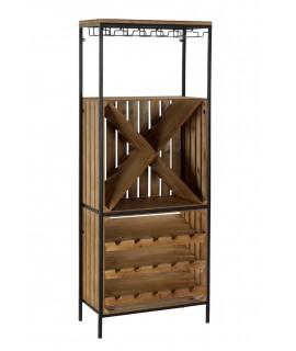 Porte-bouteilles vertical en bois et métal.