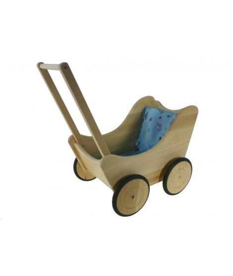 Cochecito de muñecas de madera natural con ropa de cama azul