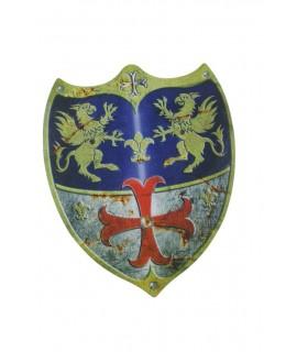 Bouclier en bois laminé au design médiéval