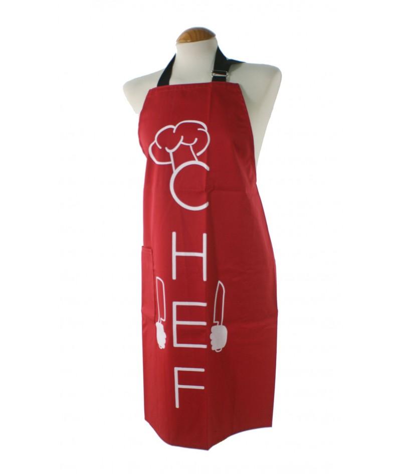 Delantal para cocina con peto anagrama chef color rojo