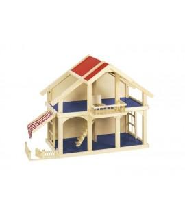 Casa de muñecas de madera sin accesorios para niños y niñas. Medidas: 62x45x81 cm.