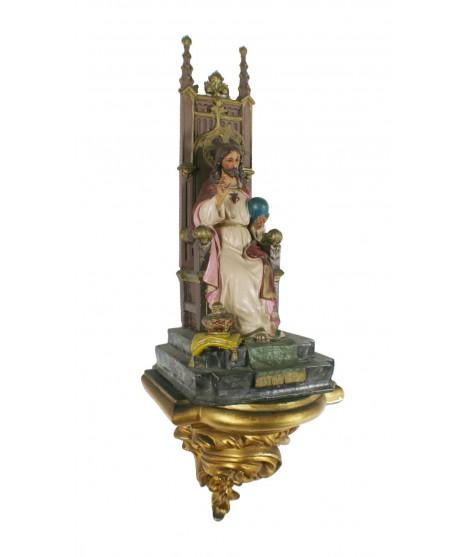 Sagrado Corazón de Jesús con Trono y pedestal. Medidas: 83x26x23 cm.