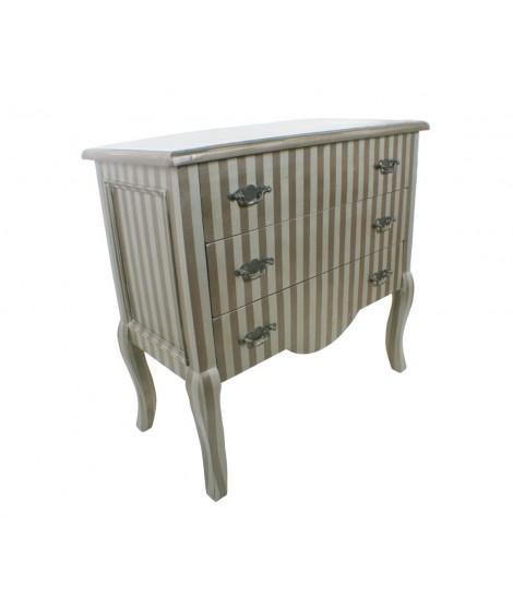 Commode en bois avec de larges tiroirs avec une finition grise rayée.