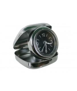 Reloj despertador plegable en caja metálica para viaje. Medidas: 2x7x7 cm.