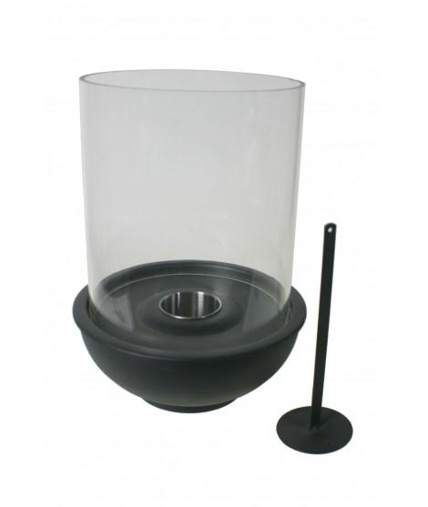Biochimenea redonda farol para uso interior y exterior color negro