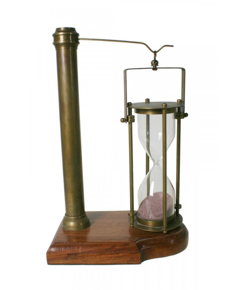 Reloj de arena giratorio base de madera y metal decoración rustico