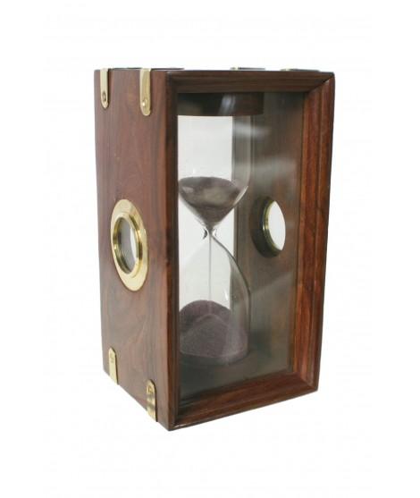 Reloj de arena giratorio 5 minutos de vitrina en madera decoración marina