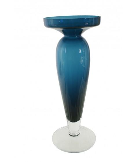 Florero de cristal tintado color azul estilo vintage.