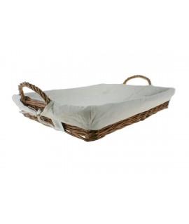 Bandeja para la ropa de planchado en mimbre color miel y forrada en tela desmontable. Medidas: 63x43 cm.