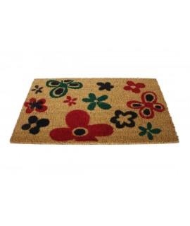 Felpudo rectangular dibujo flores multicolores de fibra de coco para puerta de entrada. Medidas: 70x40 cm.