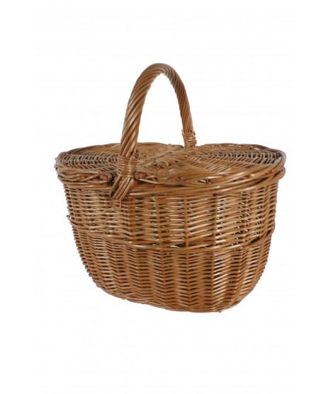 Cesto mimbre reforzado para la compra para picnic y almacenaje setas