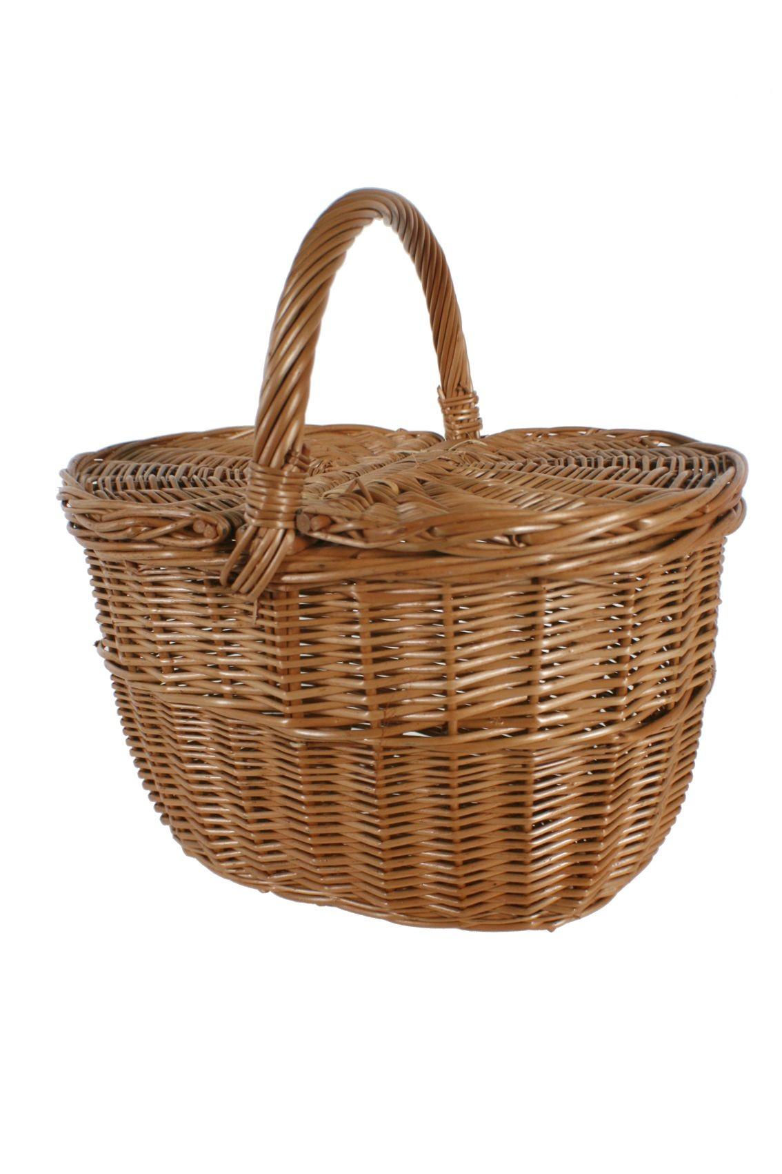 Descendencia perdonado hoy  Cesto mimbre reforzado para la compra para picnic y almacenaje setas