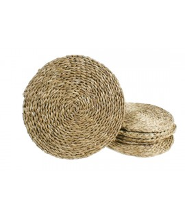 Salvamantel artesanal bajo plato de anea natural para mesa aislamiento térmico estilo vintage. Medidas: Ø 35 cm.
