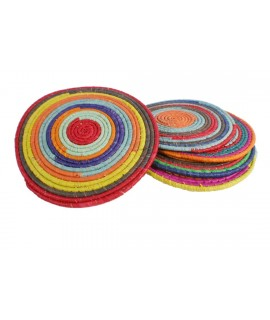 Dessous de plat en fibre naturelle multicolore