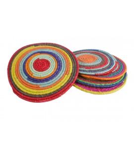 Salvamanteles de fibra naturales multicolor