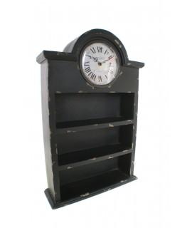 Mueble estante con reloj vintage de madera maciza decoración hogar