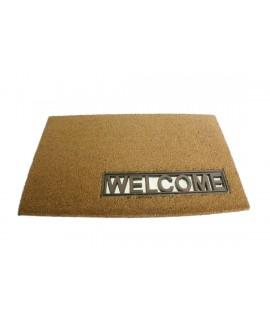 Grand paillasson de bienvenue rectangulaire en fibre pour porte d'entrée