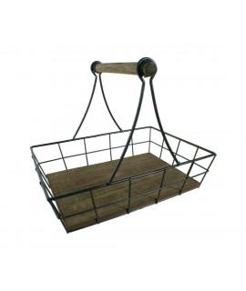 Centre de taula fusta rústica i metàl·lica estil vintage amb nansa estri contenidor organitzador. Mesures: 30x36x26 cm.