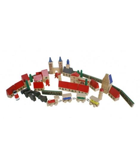 Caja de construcción mi pueblo en madera multicolor puzles