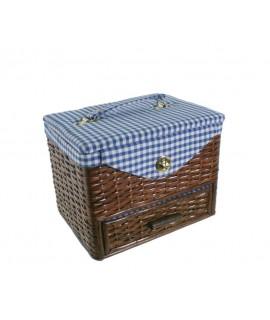 Boîte à couture rembourrée en osier avec tiroir.