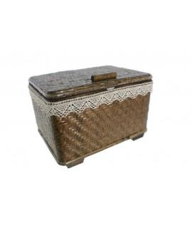 Cosidor cistella vímet gran color noguera costura brodat per a emmagatzematge