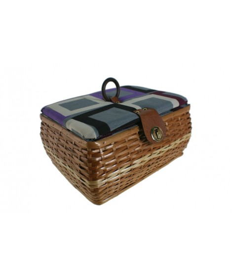 Costurero cesta mimbre costura bordado con bandeja para almacenaje