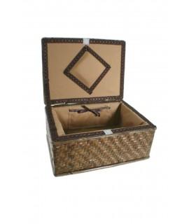 Cosidor cistella vímet petit per costura brodat per a emmagatzematge