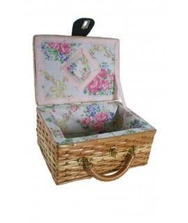 Cosidor de vímet petit amb nansa color mel per a accessoris cistell costura i brodat. Mesures: 11x22x16 cm.
