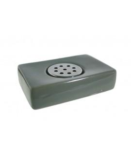 Porte-savon en céramique avec drain en acier inoxydable