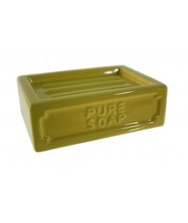 Porte-savon en céramique jaune