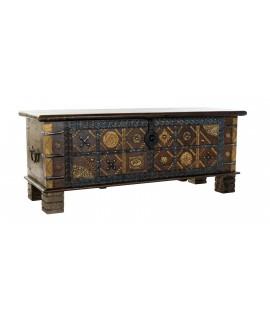 Grande poitrine poitrine coffre rangement en bois massif décoration rustique à la maison
