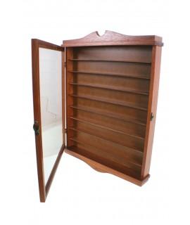 Vitrina porta didals de fusta color avellana