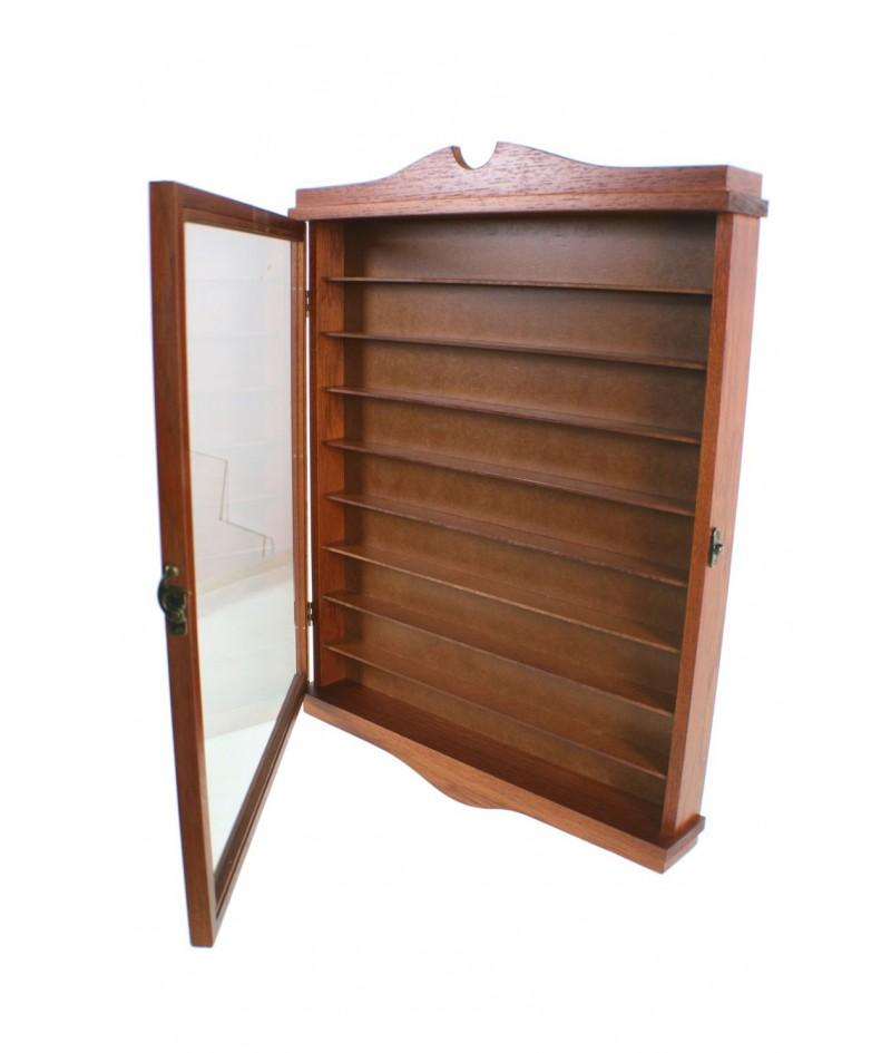 Vitrina porta dedales de madera maciza de cedro color avellana expositor para pared decoración hogar