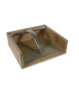 Servilletero de mesa de madera y soporte de metal para servilletas mono uso para cocina estilo vintage. Medidas: 7x19x18 cm.